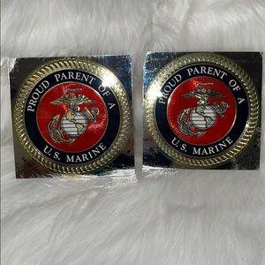 Proud Marine Parent Sticker X2
